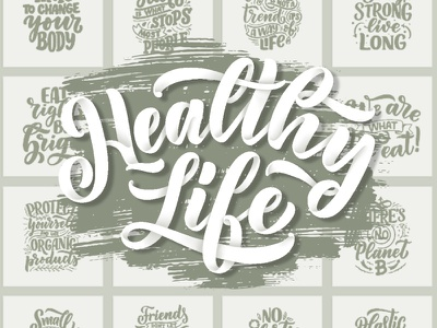 Healthy Life Lettering Set composition project typography design t-shirt print print poster phrases healthyfood ecology ecommerce illustration logotype logo hand drawn health healthy lifestyle healthy quotes lettering