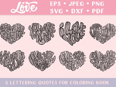 Lettering in heart coloring pages happy valentines day love heart art zentangle zenart pages adult coloring drawing composition quote typography poster print hand drawn design illustration lettering