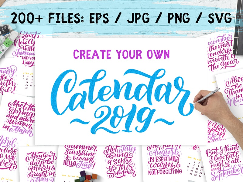 Lettering Calendar Creator 2019 By Artlana Dribbble Dribbble