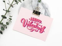 Valentine's day lettering for greeting card design