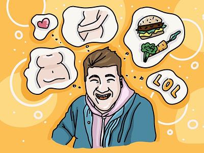 Pleasant Ildar (drawn blogger) niceshot channel art youtuber blogger art illustration