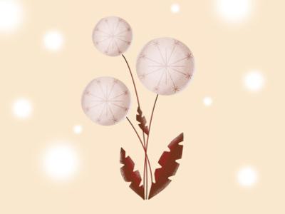 Dandelion pastel color art nature airbrush illustration
