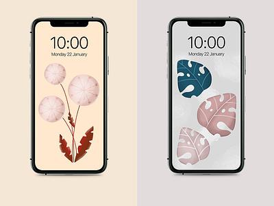 Screen art pastel colors dandelions leaves artwork screenprint