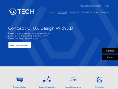 Tech web layout web flat branding design logo ux ui