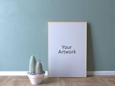 Frame Mockup With Cactus artwork 3drendering illustration freebies design download freebie mockup