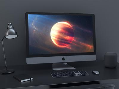 iMac Pro Mockup mockups mockup imac 5k imac gradient free download freebies freebie dark gradient dark black 5k screen