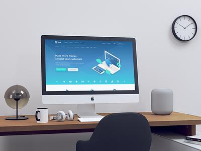 Realistic iMac Mockup mockup imac 5k imac gradient download free freebies freebie light gradient light white 5k screen