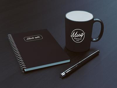 Coffee Mug Mockup With Block Note mockup psd mug on table table pen block note dark minimalist mockup coffee mugs mug