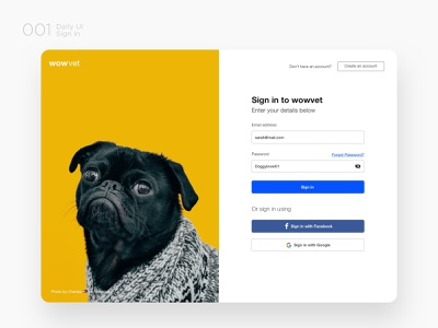 Wowvet Sign In web userinteraction userexperience vet sign in challenge ui ux ux design ui design