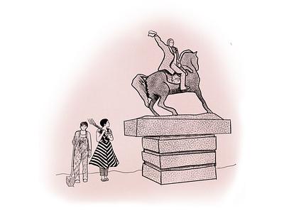 Statuary Sketches feminism flat line art vector illustration