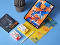 iPad Pro Stationery Branding Mockup Psd