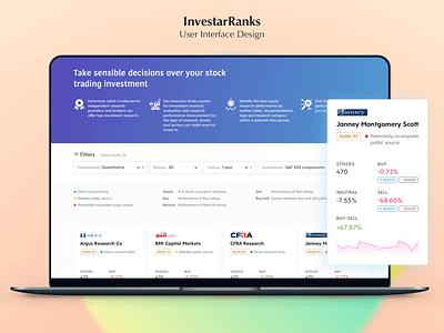 InvestarRanks - UI Design modern web app design web app minimalism simple layout design app