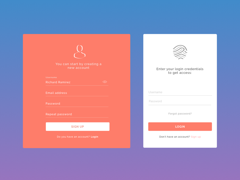 Sign in and Login page web app responsive login sign up sign-in design app