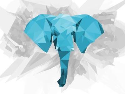 Elephant in low poly low poly elephant