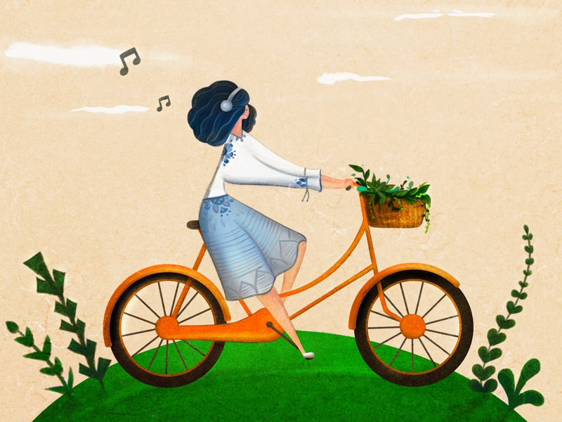 happy girl music illustration digital happy bycicle girl girl illustration illustraion