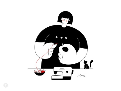 Sewing happy cat red black white black character illustraion girl character girl illustration girl tailoring tailor sewer sewing machine sew sewing