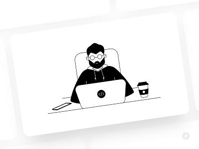 The Coder character boy hoodies illustration typing computer work working process working from home working laptop wordpress server backend frontend coders coder programmer developer develop
