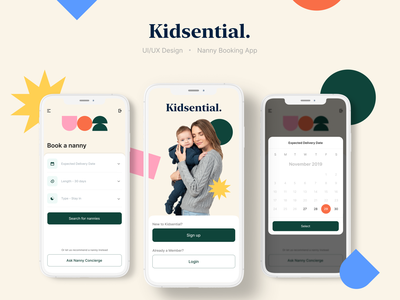 Kidsential | Nanny Booking Experience | CONCEPT 2 ux design ux product design product date picker date mobile ui mobile interaction design concept uiux ui kid booking nanny