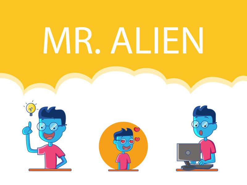 Mr. Alien Sticker Design