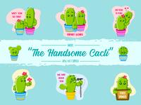 The Handsome Cacti Sticker Design