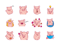 Cute Pig Emoji Set