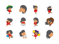 Cute girl emoji set