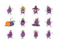 Egg plant emoji set