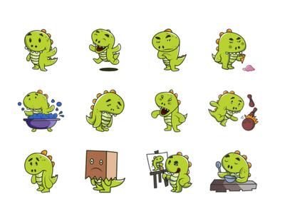 Cute Dino Emoji Set