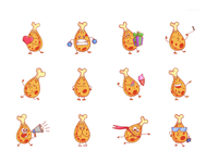 Chicken leg Emoji set