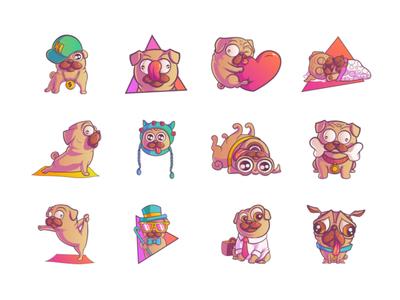 Pug Emoji/Stickers Set
