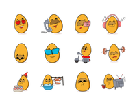 Egg cartoon emoji set