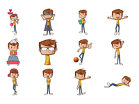 Cute Boy Emoji Set