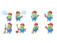 Cleaning Man Emoji Set
