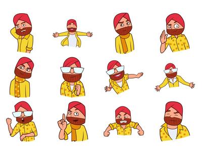 Punjabi Sardar Emoji Set