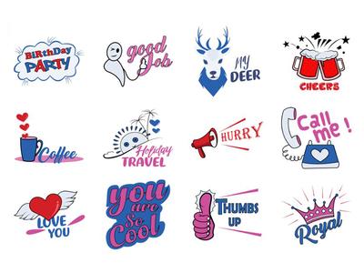 Text Sticker Set Design