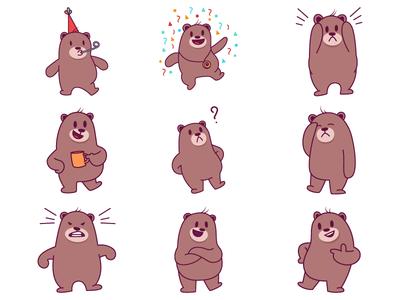Cute Bear Emoji Set