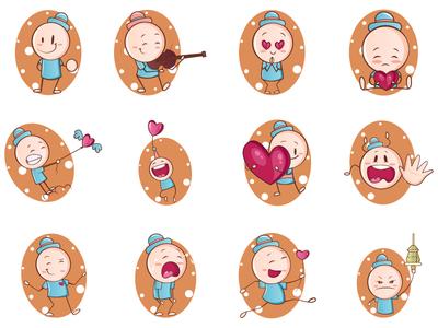 Cute Cartoon Child Emoji Set