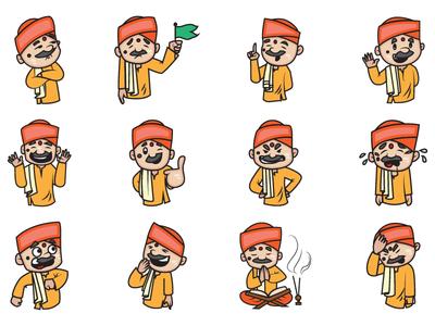 Cartoon Pandit Emoji Set