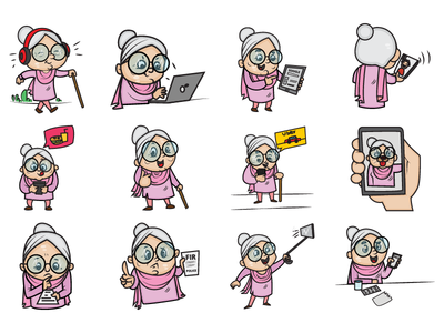 Cute Old Woman Emoji Set