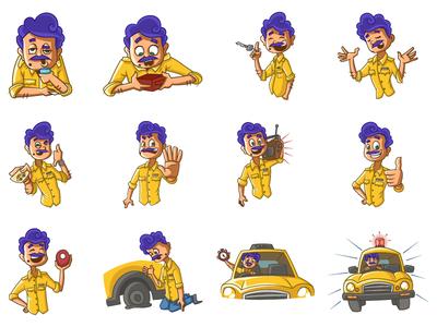 Taxi Driver Emoji Set