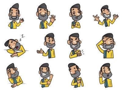 Cartoon Man Emoji Set