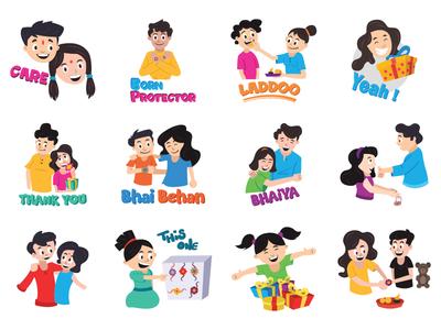 Cute Rakhi Emoji Set