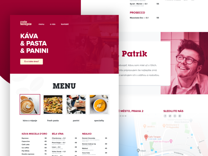 Restaurant Landing Page — Coffee & Pasta place about me drinks website uidesign minimal footer jumbotron hero food menu restaurant landing webdesign ux uiux ui design czech