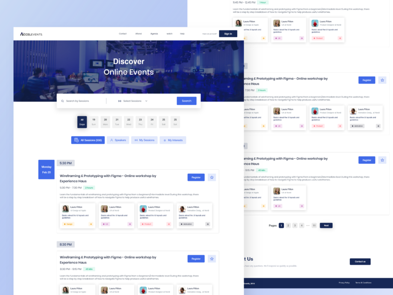 Accelevents - Online events sessions appointments speakers speaker scheduling scheduler events typography ui ux schedule statistics illustration xd design