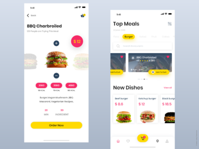 Delivery App. Restaurants white online app order shopping restaurant yellow food and beverage delivery food dribbble