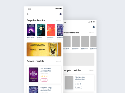 Reading App Design Project   Ui & Wireframe book arts booking app read activity book icon menu ui ux xd black white wireframe schedule illustration design dribbble