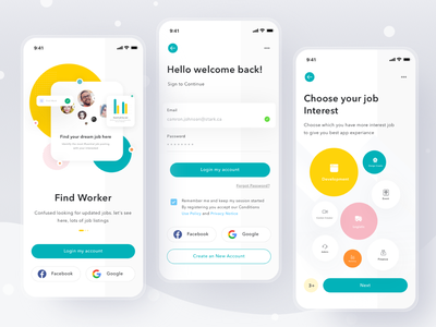 Work Finder App ui clean card profile mobile ios app tasks debut job finder work task