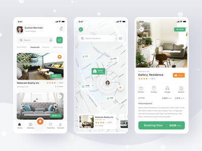Property App holiday clean card booking debut app responsive profile location sell buy rent ui ios mobile property real estate