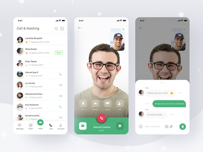 Chat App timeline conference video call voice chat app call video schedule meeting chat ios card profile mobile app