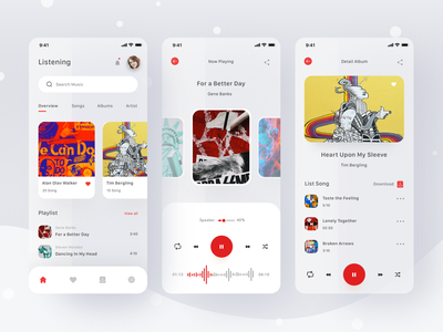 Music App podcast playlist play youtube streaming music card profile mobile ios app